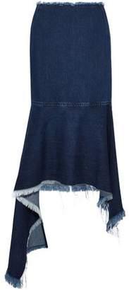Marques Almeida Marques' Almeida Asymmetric Frayed Denim Midi Skirt