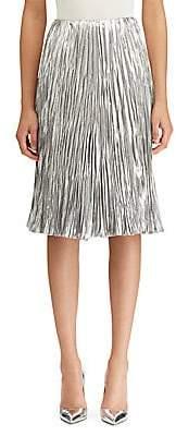 Ralph Lauren Women's Kiernan Pleated Lamé A-line Skirt