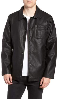 Members Only Logo Embossed Faux Leather Jacket