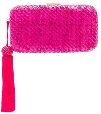 Kayu Charlotte Straw Clutch With Tassel In Pink