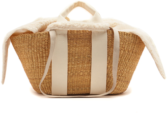 George faux-shearling and woven-straw bag