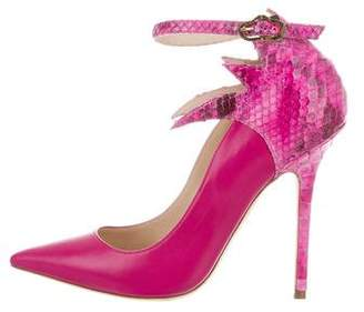 Julia Haart Python-Trimmed Pointed-Toe Pumps