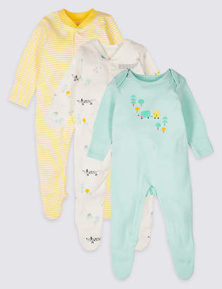 d46730030934 Marks and Spencer 3 Pack Pure Cotton Sleepsuits