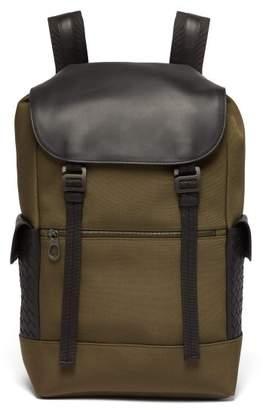 Bottega Veneta Sassolungo Canvas And Leather Backpack - Mens - Khaki
