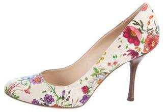Gucci Floral Canvas Pumps