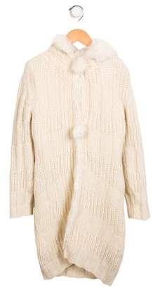 Ermanno Scervino Girls' Fur-Trimmed Hooded Cardigan w/ Tags
