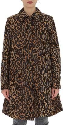 Miu Miu Leopard Print Straight Hem Coat