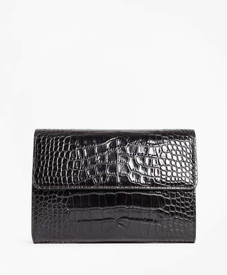 Brooks Brothers Crocodile-Embossed Leather Clutch
