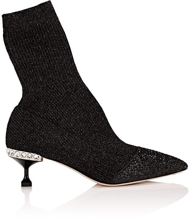 Miu Miu Women's Embellished-Heel Rib-Knit Ankle Boots