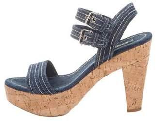 Miu Miu Denim Cork Sandals