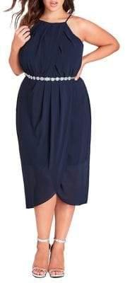 City Chic Plus Chiffon Wrap Dress
