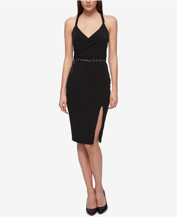 Guess Belted Twisted Halter Sheath Dress