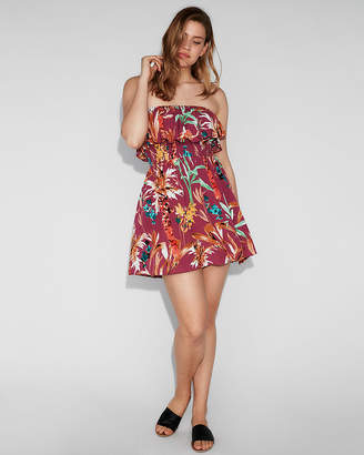 Express Floral Smocked Fit And Flare Cami Dress