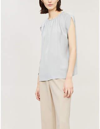 Theory Women's Blue Cutout Gathered Silk Top