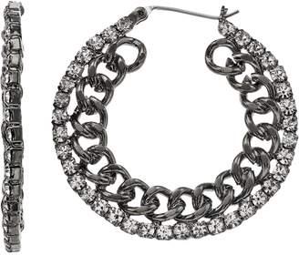 Vera Wang Simply Vera Simulated Crystal Chain Hoop Earrings