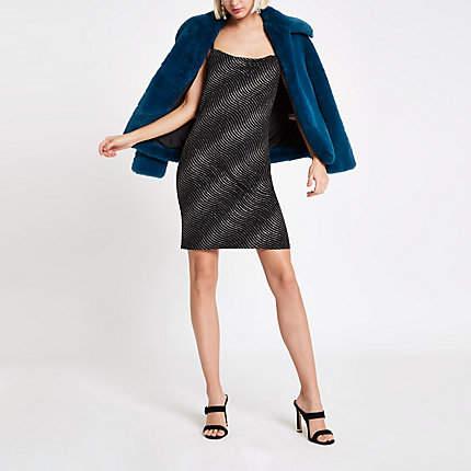 Womens Black glitter stripe cowl neck slip dress