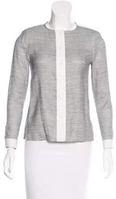 J Brand Striped Button-Up Cardigan