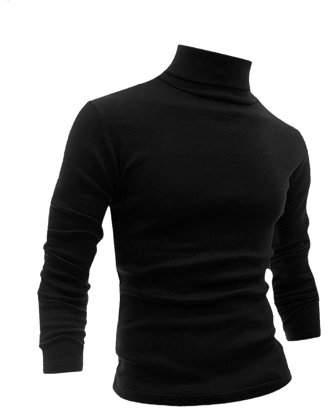 Unique Bargains Men Long Sleeve Turtle Neck Slim Fit T Shirts Black L