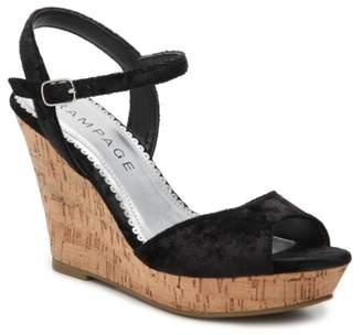 Rampage Crissy Velvet Wedge Sandal