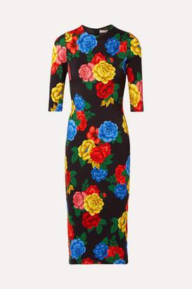 Alice + Olivia Alice Olivia - Delora Floral-print Stretch-jersey Midi Dress - Black