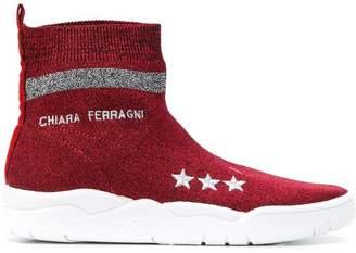 Chiara Ferragni logo sock sneakers