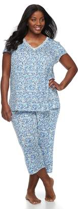Croft & Barrow Plus Size Printed Tee & Capri Pajama Set