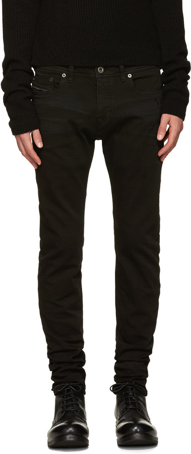 Diesel Black Gold Black Whiskered Skinny Jeans