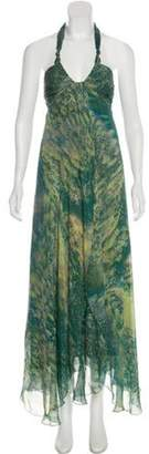 Max Mara Silk Halter Dress Teal Silk Halter Dress