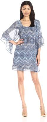 Collective Concepts Women's Printed Dress with Flounce Sleeves, Blue/Multi