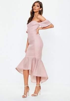 Missguided Pink Bardot Fishtail Midi Dress