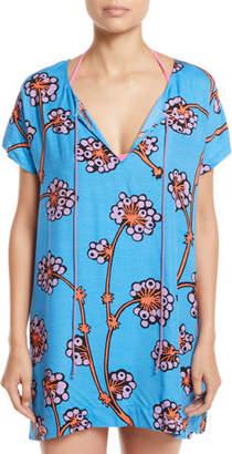 Diane von Furstenberg Tie-Front Floral Coverup Tee Dress