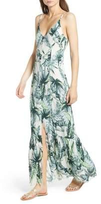 Somedays Lovin Palm Print Fringe Hem Maxi Dress