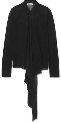 Jil Sander Draped Voile Shirt - Black