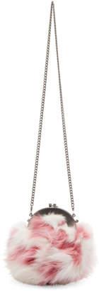 Miu Miu White and Pink Fur Chain Bag