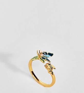 Bill Skinner Gold Plated Enamel Butterfly Ring
