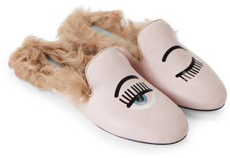 Chiara Ferragni Pink Flirting Real Fur Flat Mules