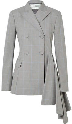 Off-White Asymmetric Checked Cotton Blazer - Gray