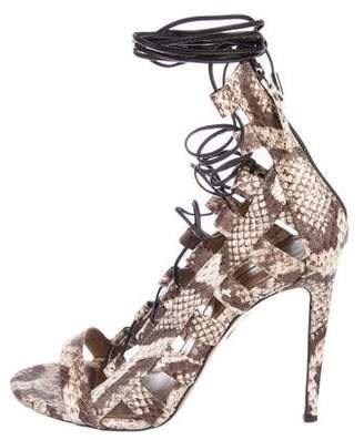 Aquazzura Snakeskin Lace-Up Sandals