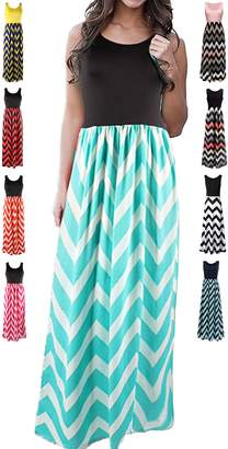 HanDanGe Women's Summer Chevron Striped Print Dress Tank Long Maxi Dresses For Women -S