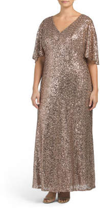 Plus Sequined Flowing Sleeve Dress