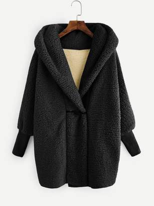Shein Faux Fur Hooded Teddy Coat