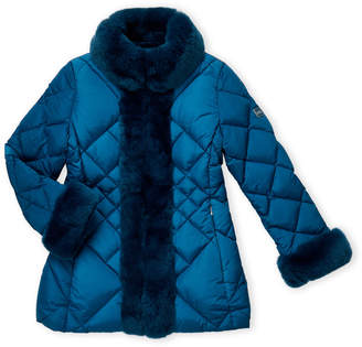 ADD Girls 7-16) Real Fur Trim Quilted Down Coat