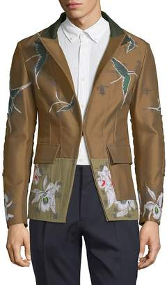 Valentino Men's Bird and Floral-Print Sportcoat