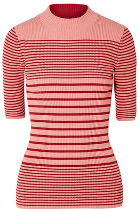 Acne Studios Winnie Striped Ribbed Cotton-blend Sweater - Brick