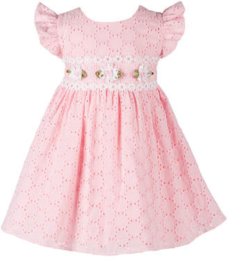 cf8c2d851 Bonnie Baby Baby Girls Floral-Trim Eyelet Dress