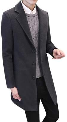 BESSKY Men Formal Single Breasted Figuring Overcoat Long Wool Jacket Outwear (, XXXL)