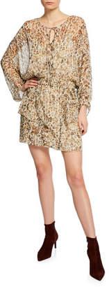 IRO Caprio Leopard-Print Long-Sleeve Short Dress