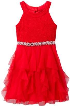My Michelle mymichelle Glitter Lace Halter Dress (Big Girls)