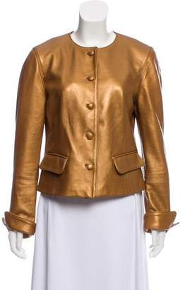 Lafayette 148 Leather Button Up Jacket