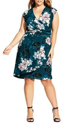 City Chic Blossom Faux Wrap Dress